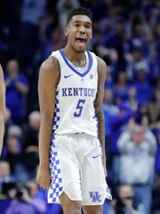 Malik Monk of the Kentucky Wildcats celebrates during the game against the Georgia Bulldogs at Rupp Arena.