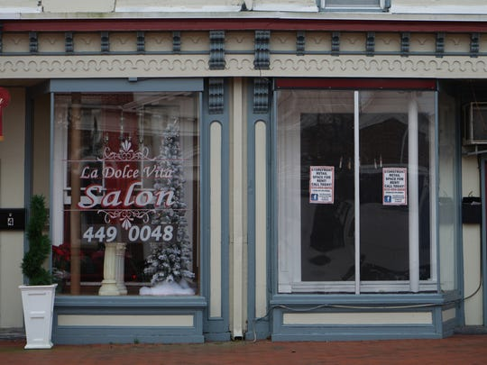 A commercial space for rent in the square on the corner of Main and Broad Street in Middletown.