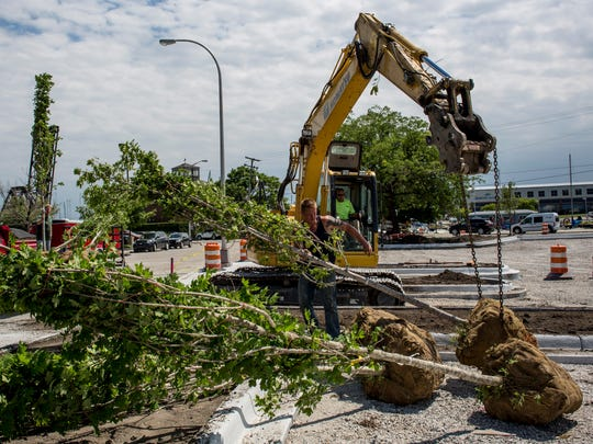 Contractor Jeremy Wagar prepares trees to be planted between the sidewalk and parking lot Thursday, June 23, 2016 at Quay and Fort streets in Port Huron. The parking lot is expected to be completed by June 30.