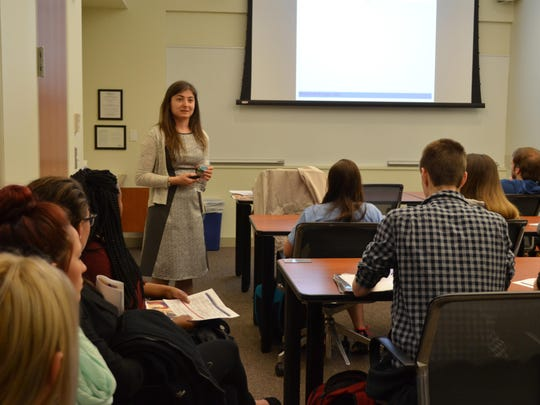 "Zornitsa Kalibatseva of Stockton University presents ""Loss of face, intergenerational family conflict and depression among Asian American and European American college students"" during the 16th annual Day of Scholarship at Stockton University on April 1."