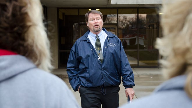 "Jim Hiatt, deputy coroner for Delaware County, speaks to parents the difficulties of having to explain to family that a relative died during an accident during ""Living Proof"" at Muncie Central High School in this photo from 2016."