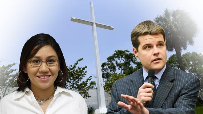 Matt Gaetz has challenged Amanda Kondrat'yev to a debate over the Bayview Park cross