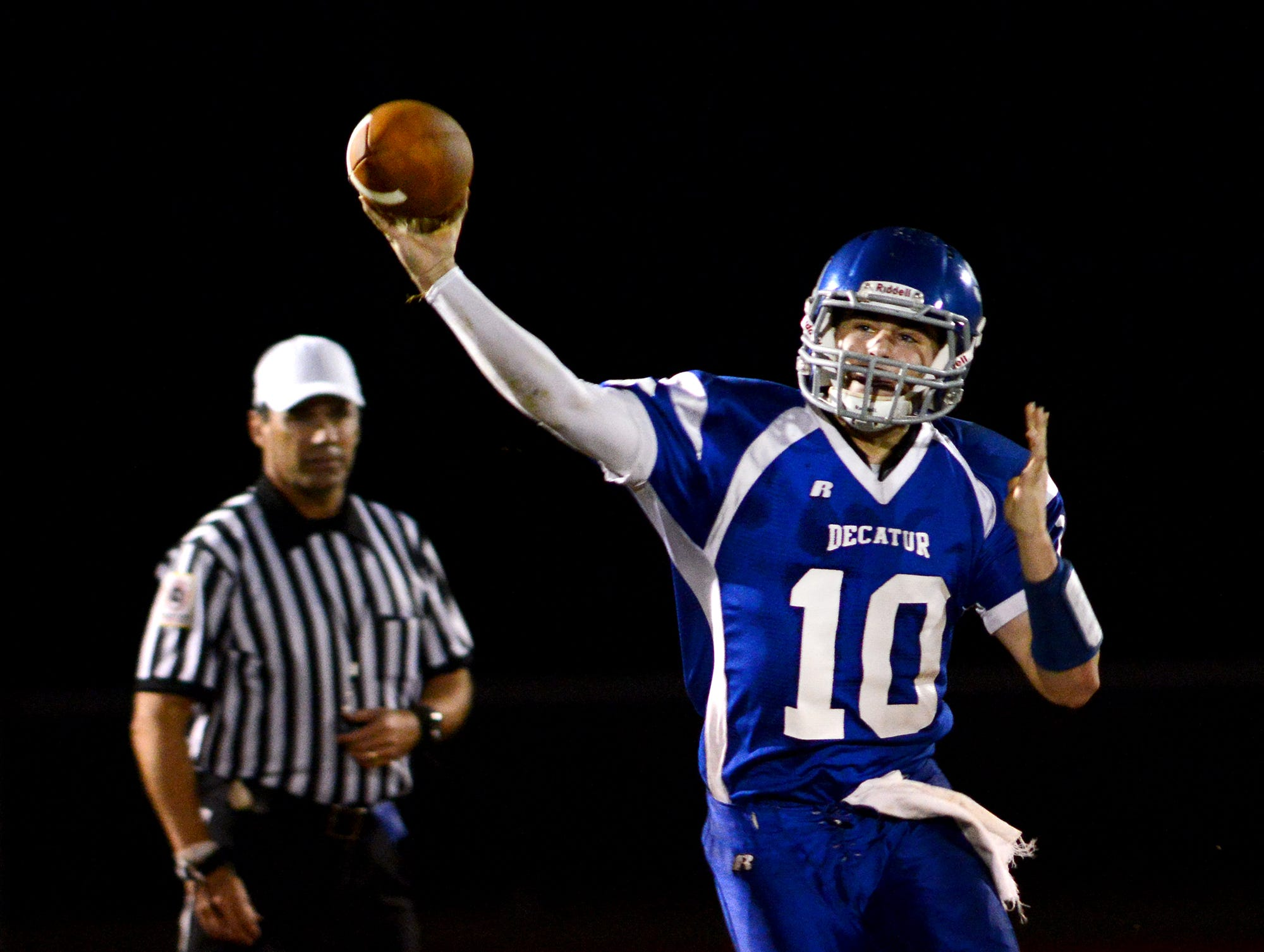Decatur's Justin Meekins, now entering his senior year, passed for 843 yards and six scores and rushed for 515 yards and seven touchdowns in 2013.