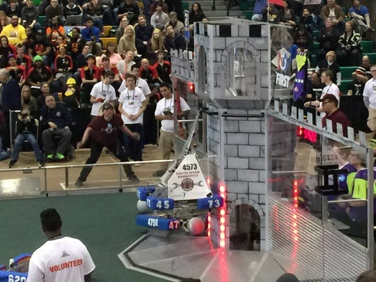 The South River Rambotics robot was one of only four that succeeded in scaling its opponant's tower in the FRC competition at Seneca High School.
