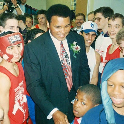Muhammad Ali in his element at the Aquinas Mission