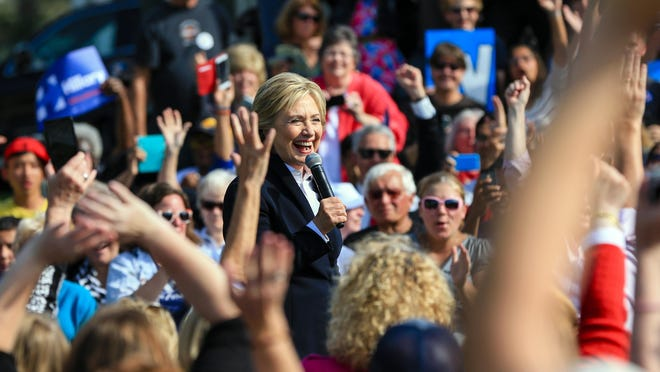 Democratic presidential candidate Hillary Rodham Clinton speaks Wednesday during a campaign stop in Council Bluffs, Iowa.
