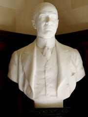 A bust of the late Alfred I. duPont in the reception hall of the Nemours Mansion. DuPont's wealth has fueled medical facilities in Delaware and beyond. Little is known about why duPont selected health care as his pet project.