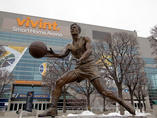 FILE - In this Jan. 23, 2017, file photo, a statue of Utah Jazz great John Stockton sits outside of the Vivint Smart Home Arena in Salt Lake City. The Utah Jazz plan to submit a proposal to host the NBA All-Star game in either 2022 or 2023. The decision comes on the heels of a $125 million renovation to arena, that debuted at the beginning of this season. The 2023 game would be 30 years after the Jazz last hosted the All-Star Game in 1993. (AP Photo/Rick Bowmer, File)