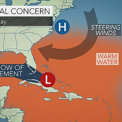 A tropical wave is moving into the Florida Straits