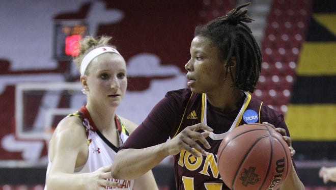 Iona guard Philecia Gilmore, right, looks for a teammate as she is guarded by Maryland guard Kristen Confroy in the first half of an NCAA college basketball game in the first round of the NCAA Tournament, Saturday, March 19, 2016, in College Park, Md. (AP Photo/Patrick Semansky)