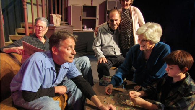 """Aging and relationships are the focus of """"On Golden Pond,"""" which opens Jan. 12 at Surfside Playhouse in Cocoa Beach. Cast includes, clockwise from foreground, Gordon Ringer, Steven Wolf, Steven Budkiewicz, Pamela Castellano, Linda Nicoli and Noah Ackerman."""