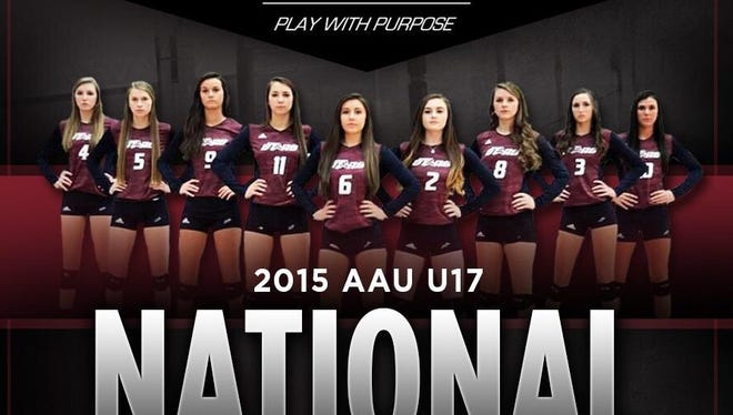 The Upward Stars (S.C.) volleyball team includes North Buncombe's Morgan Ballard (2) as well as Reynolds' Emily Russell (5) and Courtney Koehler (11).