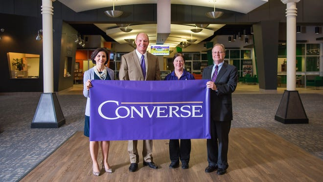 The University Center of Greenville welcomes Converse College. Pictured are, left to right: Converse President Krista L. Newkirk; University Center of Greenville CEO and President David Taylor; Converse Dean of Graduate Studies and Distance Education Lienne Medford; and Converse Provost Jeffrey R. Barker.