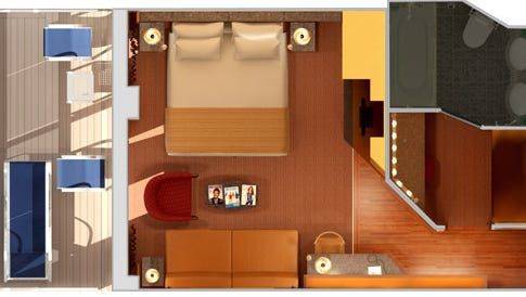Cruise lines describe space in terms of square feet, and it's not a bad idea to take out a tape measure and mark out the space – 175 square feet, 200 square feet, or whatever – on your living room floor, to compare cabin sizes.