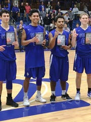 Scott all-tournament, from left, Jake Ohmer, Vinnie Dumlao, Nelson Perrin and Chad Ohmer.