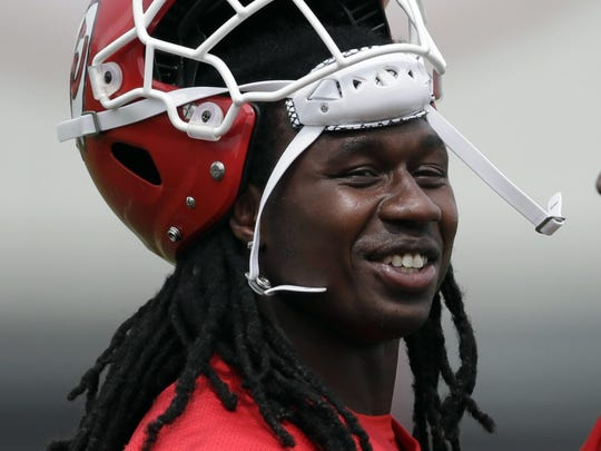 Kansas City Chiefs wide receivers Sammy Watkins, left, and Chris Conley (17) talk during an NFL football practice at the teams practice facility in Kansas City, Mo., Thursday, June 7, 2018. (AP Photo/Orlin Wagner) ORG XMIT: MOOW102