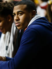 Iowa State recruit Talen Horton-Tucker from Chicago watches a scrimmage during Hilton Madness at the Hilton Coliseum on Friday, Oct. 13, 2017, in Ames.