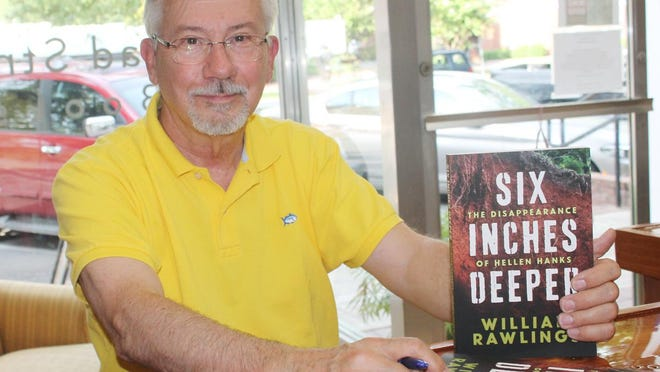 """Dr. William Rawlings holds a copy of his latest book, """"Six Inches Deeper,"""" a non-fiction account of a murder that would have ended differently if the remains of the victim had been buried 6 inches deeper."""