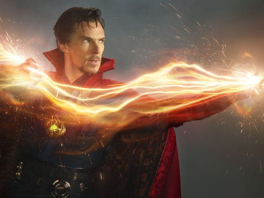 Benedict Cumberbatch as Dr. Stephen Strange in a scene