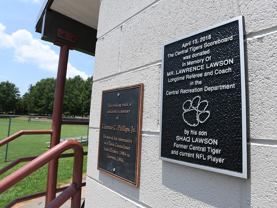 A plaque was placed Bolick Field in Central in honor of Lawrence Lawson, the father of former Clemson and current NFL player Shaq Lawson after Shaq donated a scoreboard at the field to the Central Recreation Department.