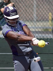 Spanish Springs' Amidori Anderson's bat breaks as she hits the ball during the championship against Douglas at Bishop Manogue  on Monday.