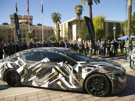 An all-electric prototype Lucid Motors car is on display during a press conference at the Arizona Capitol in Phoenix on Nov. 29, 2016, announcing that Lucid Motors will be opening a plant in Casa Grande.