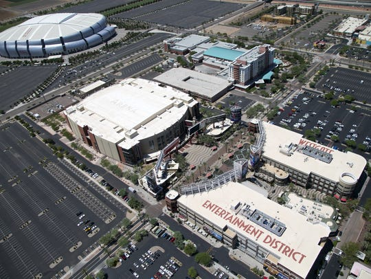 An aerial view of State Farm Stadium, Gila River Arena