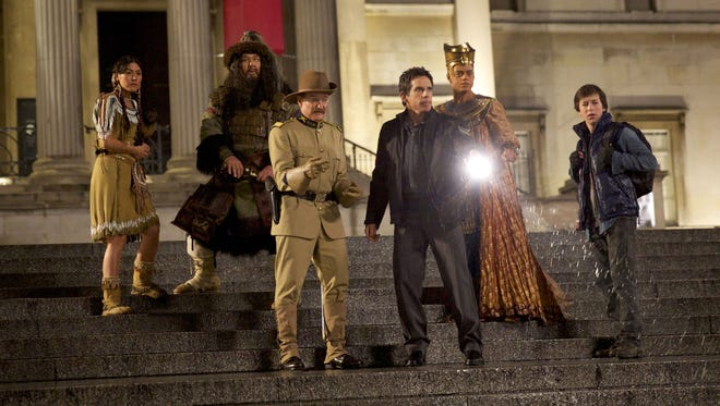 """From left: Mizuo Peck, Patrick Gallagher, Robin Williams, Ben Stiller, Rami Malek and Skyler Gisondo in """"Night at the Museum: Secret of the Tomb."""""""