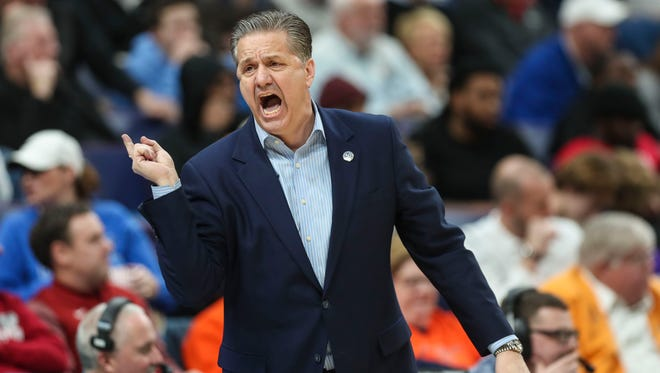 Kentucky's John Calipari shouted instructions to his team during the Wildcats win over Georgia in the 2018 SEC Tournament in St. Louis.