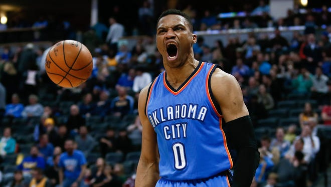 Oklahoma City Thunder guard Russell Westbrook (0) reacts after a play in the fourth quarter against the Denver Nuggets at the Pepsi Center.
