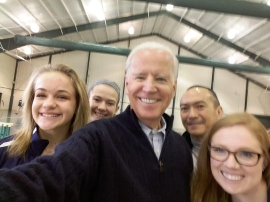 Sanford's Maddie Lazarski and Alyssa Marini and coaches Brianna Smale and Karl Honma took a selfie with Vice President Joe Biden at a Jan. 21 indoor track meet.