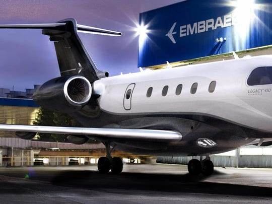 Embraer's Legacy 450 business jet, on display at the Paris Air Show, is assembled at the Orlando Melbourne International Airport.