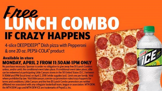 The promotional ad Little Caesars ran touting a free lunch if a 16 seed beat a No. 1 seed in the NCAA college basketball tournament.