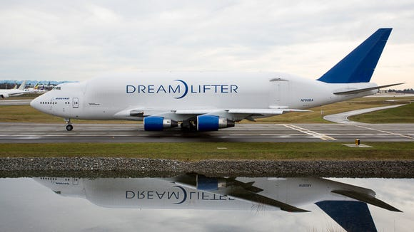 A heavily modified Boeing 747-400 'Dreamlifter' taxis