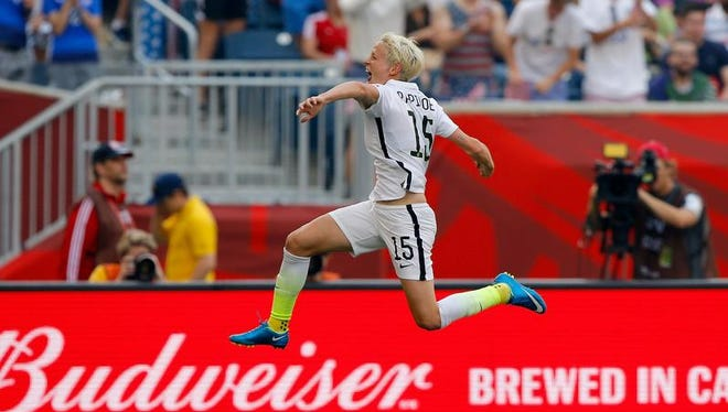 Megan Rapinoe of the United States celebrates one of her two goals in Monday's 3-1 win over Australia in the group stage of the FIFA Women's World Cup.