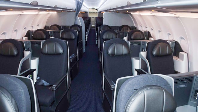 The business-class cabin inside American's Airbus A321 aircraft.