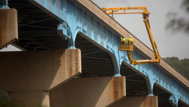 PennDOT and consultants inspect additional spans on Tuesday September 29, 2015 after a crack was found Monday and the Norman Wood Bridge was closed. Paul Kuehnel - York Daily Record/ Sunday News