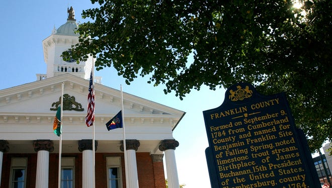 The Franklin County Courthouse is located on Memorial Square, Chambersburg.