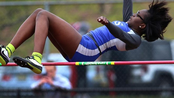 Sayreville's Kayia Henry competes in the high jump during the GMC Relays on Tuesday at South Brunswick.
