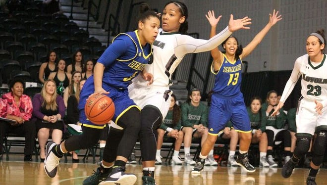 Delaware's Erika Brown dribbles toward the basket against Loyola.