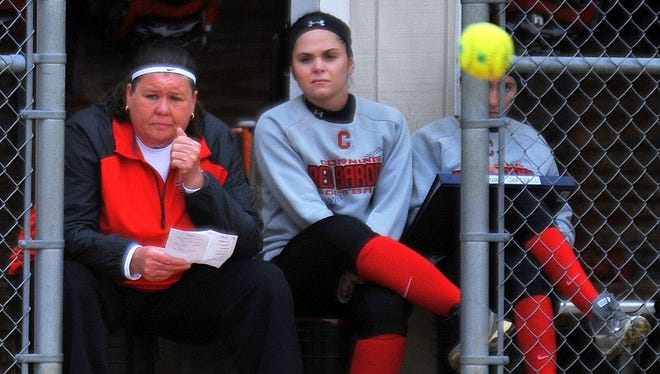 Stacy Johnson, left, is the second coach at Corning Community College to reach 500 victories.