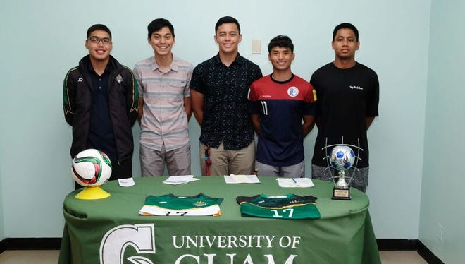 UOG Tritons Athletics signs five returning members for the upcoming Tritons Men's Soccer Team. They are, from left: Joseph Quan, John Anthony Raz, Mike Topasna, Dylan Naputi and Dominic Gadad.