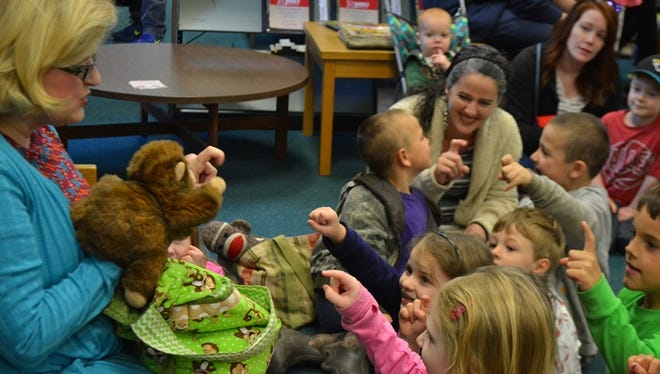 Children participate in one of the Autauga Prattville Public Library's Preschool Story Time events this month.