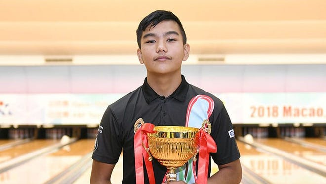 Jeremiah Camacho won the Youth Masters division of the 2018 Macau China International Open Tenpin Bowling Championships in Macau June 21. It was his first international tournament. He was the youngest player in a field of 24 bowlers.