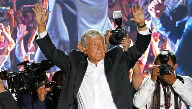 Mexico presidential candidate Andrés Manuel Lopez Obrador, of the Morena party, at his closing campaign rally June 27 in Azteca Stadium in Mexico City.
