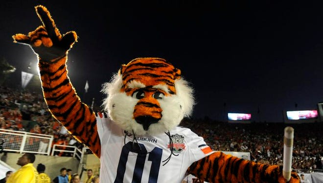 Auburn mascot Aubie before the BCS National Championship Game on Monday January 6, 2014 in Pasadena, Ca.