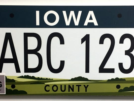 """This plate is known as """"The Great Wide Open,"""" inspired by Iowa's rich green landscape"""