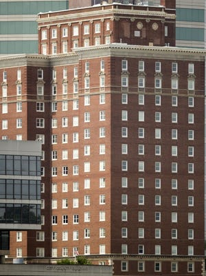The 18-story Andrew Johnson Building, pictured Monday, is to be sold as part of a budget deal that Knox County Mayor Tim Burchett and Knox County School Superintendent Jim McIntyre worked out that will include building new middle schools in the Gibbs and Hardin Valley communities. (SAUL YOUNG/NEWS SENTINEL)