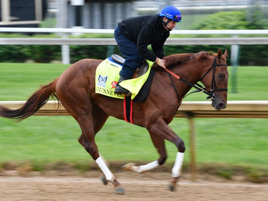 May 4, 2017; Louisville, KY, USA; Kentucky Derby entrant Gunnevera exercises during morning workouts at Churchill Downs. Mandatory Credit: Jamie Rhodes-USA TODAY Sports