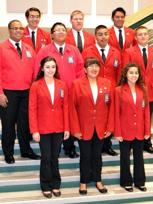 New Mexico SkillsUSA State Officers received leadership training for their incoming term. Deming High students are, bottom row at left, senior Karina Saldivar, second row at left, junior Shawn Roberts and third from left, Julian Zepeda.